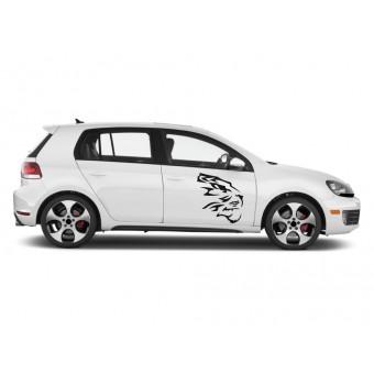 Sticker auto - Cap de tigru