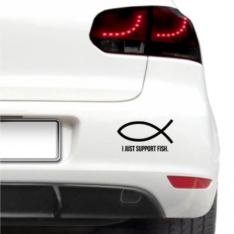 Sticker auto - I Just Support Fish
