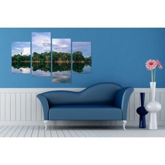 Tablou canvas 4 piese - Oglinda lacului