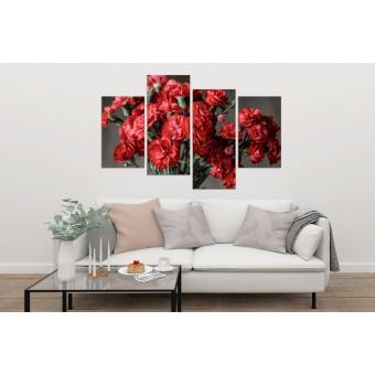 Tablou canvas 4 piese - Un buchet de flori