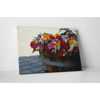 Flori colorate in butoi