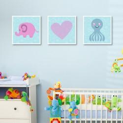 Tablou canvas 3 piese - Animale dragalase pentru baieti
