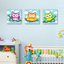 Tablou canvas 3 piese - Bufnite colorate