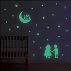 Sticker Fosforescent - Copiii si luna