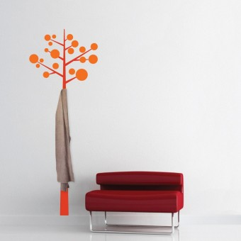 Sticker cuier de haine - Pom modern - Orange