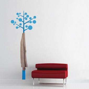 Sticker cuier de haine - Pom modern - Albastru