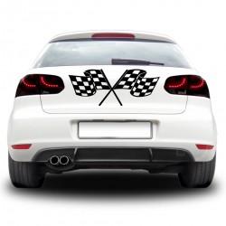 Sticker auto - Doua steaguri