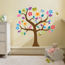Copacul colorat si pasari